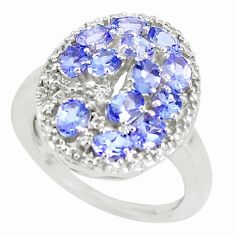 3.91cts natural blue tanzanite 925 sterling silver ring jewelry size 7.5 a93166