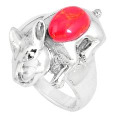 2.34cts red coral pear 925 sterling silver rabbit charm ring size 7 a93304