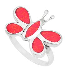 925 sterling silver 5.02gms red coral enamel butterfly ring size 8 a93307
