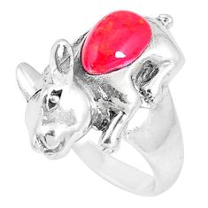 2.41cts red coral 925 sterling silver rabbit charm ring jewelry size 6.5 a93308