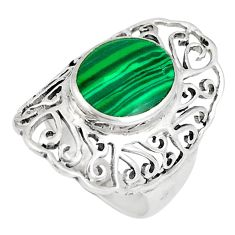 925 silver 2.44cts natural green malachite (pilot's stone) ring size 5.5 a93310