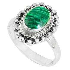 5.02gms green malachite (pilot's stone) 925 silver ring jewelry size 9 a93332