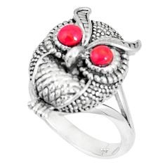 925 sterling silver 1.60cts red coral round owl ring jewelry size 8 a93344