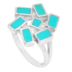 4.48gms fine green turquoise enamel 925 sterling silver ring size 6 a93361