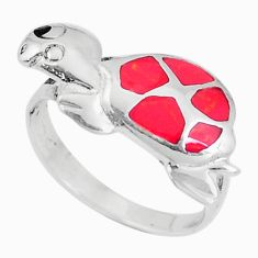 3.02gms red coral onyx enamel 925 sterling silver tortoise ring size 7 a93368