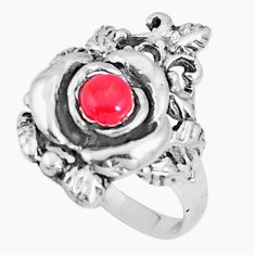 925 sterling silver 0.58cts red coral round ring jewelry size 6 a93385