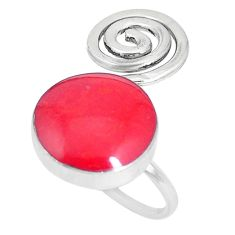 4.24gms red coral enamel 925 sterling silver ring jewelry size 5.5 a93396