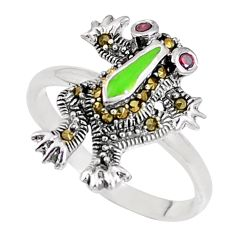 0.35cts natural red garnet marcasite enamel 925 silver frog ring size 7 a93595