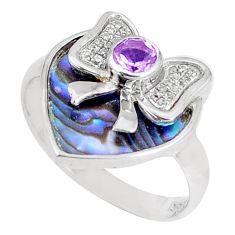 4.18cts natural green abalone paua seashell 925 silver ring size 6 a93607