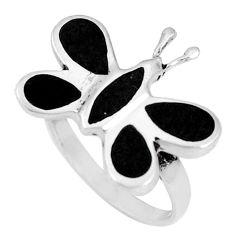 4.48gms black onyx enamel 925 sterling silver butterfly ring size 7 a93609