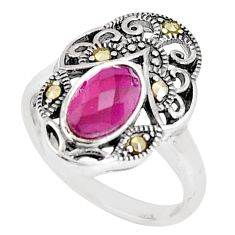 2.41cts red ruby (lab) marcasite 925 sterling silver ring size 5.5 a93611