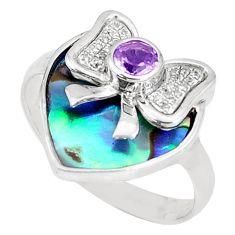 3.83cts natural green abalone paua seashell 925 silver ring size 6 a93615