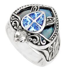 925 silver 6.02gms black onyx enamel tortoise ring jewelry size 6 a93631