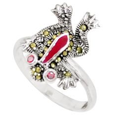 0.35cts natural red garnet marcasite enamel 925 silver frog ring size 7 a93632