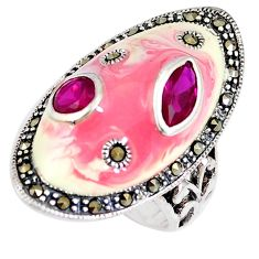 2.99cts natural red garnet marcasite enamel 925 silver ring size 6 a93650