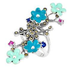 Red ruby (lab) sapphire (lab) enamel 925 silver flower ring size 6 a93774