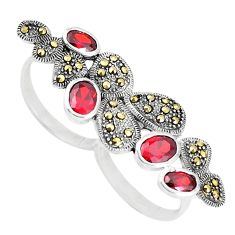 Natural red garnet marcasite 925 silver two finger couple ring size 7.5 a93792