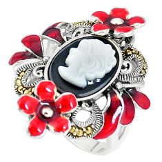 7.11cts natural onyx pearl enamel lady face 925 silver ring size 7.5 a93805