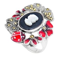 5.65cts natural black onyx pearl enamel lady face 925 silver ring size 8 a93855