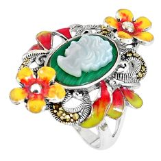 Natural green malachite (pilot's stone) lady face silver ring size 6.5 a93856