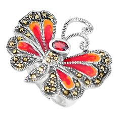 925 silver natural red garnet swiss marcasite butterfly ring size 8 a93859