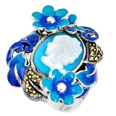 Blue sleeping beauty turquoise pearl lady face 925 silver ring size 5.5 a93865