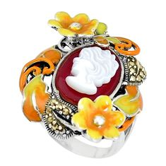 Natural honey onyx pearl enamel lady face silver flower ring size 7.5 a93868