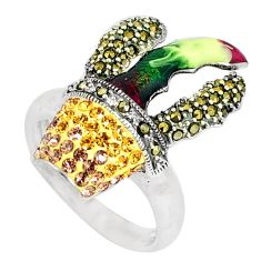 2.11cts natural yellow topaz marcasite enamel 925 silver ring size 7.5 a93989