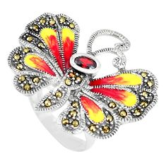1.23cts natural red garnet marcasite 925 silver butterfly ring size 7 a94123