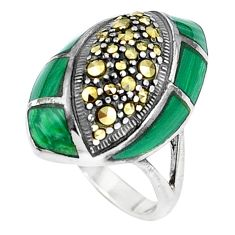 4.73cts natural green malachite (pilot's stone) 925 silver ring size 6.5 a94186