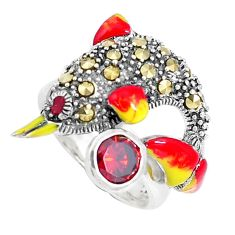 1.61cts red garnet quartz marcasite enamel 925 silver dolphin ring size 7 a94188