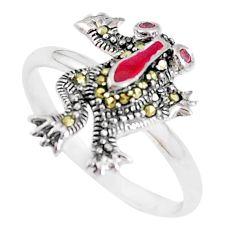 0.35cts red garnet quartz marcasite enamel 925 silver frog ring size 8.5 a94236