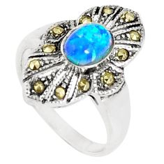 4.52cts blue australian opal (lab) marcasite 925 silver ring size 6 a94572