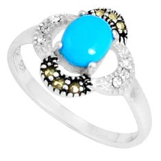 925 silver 2.42cts blue sleeping beauty turquoise marcasite ring size 9 a94804