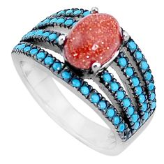 Natural brown goldstone sleeping beauty turquoise silver ring size 5.5 a95039