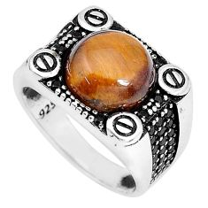 6.30cts natural brown tiger's eye topaz 925 silver mens ring size 10.5 a95320