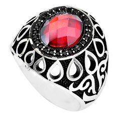 4.96cts red garnet quartz topaz 925 sterling silver mens ring size 8.5 a95329