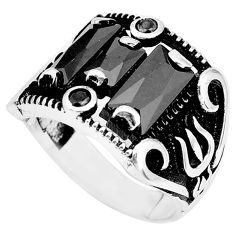 7.78cts natural black onyx topaz 925 sterling silver mens ring size 9 a95336