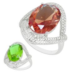 12.30cts green alexandrite (lab) topaz 925 silver solitaire ring size 8 a95355