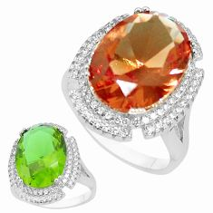 12.34cts green alexandrite (lab) topaz 925 silver solitaire ring size 9 a95370