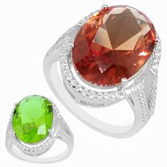 12.98cts green alexandrite (lab) topaz 925 silver solitaire ring size 9 a95374