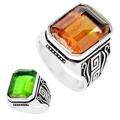 925 sterling silver 13.22cts green alexandrite (lab) mens ring size 10.5 a95395