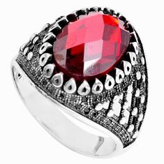 6.61cts red garnet quartz topaz 925 sterling silver mens ring size 11 a95431