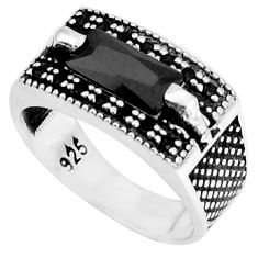 3.91cts natural black onyx topaz 925 sterling silver mens ring size 7 a95441