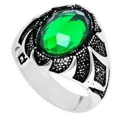 925 silver 6.96cts green emerald (lab) oval topaz mens ring size 11 a95450