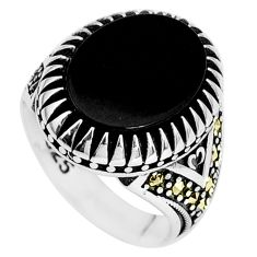 12.09cts natural black onyx marcasite 925 silver mens ring size 9.5 a95475