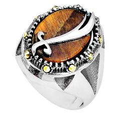 925 silver 10.16cts natural brown tiger's eye mens ring jewelry size 9.5 a95480