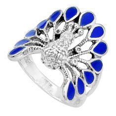 7.89gms blue lapis lazuli enamel 925 silver peacock ring jewelry size 9.5 a95570