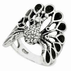 925 sterling silver 7.26gms black onyx enamel peacock ring size 9.5 a95573