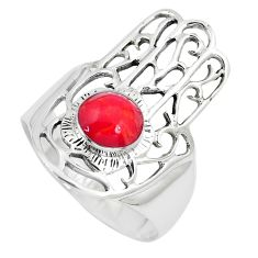 5.26gms red coral enamel 925 silver hand of god hamsa ring size 8 a95594
